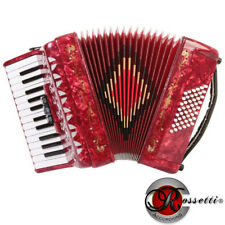 Rossetti 2648 26 Keys 48 Bass 3 Switches Piano Accordion - Red Case Straps