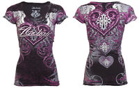 Archaic AFFLICTION Women T-Shirt UNWANTED LOVE Tattoo BLACK Biker UFC Sinful $40