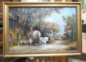 LARGE OIL ENGLISH COUNTRY LANDSCAPE ARTIST WHEELER  FREE SHIPPING TO ENGLAND