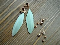 Real Feather Ear Cuffs Earring Rhinestone Stud Earrings Set Gypsy Boho Jewelry