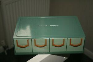 VINTAGE PATERSON BLOCKFILE 35mm SLIDE STORAGE 4 DRAW UNIT GREEN 1960s Retro