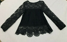 MIMI Black Baby Doll Crochet Tunic Top Shirt Womne's Size M