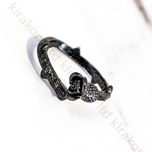 Black Rose Adjustable Ring for Women Jewellery Thorn Punk Goth + GIFT BOX