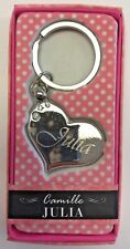 JULIA Camille heart silver color personalized KEYCHAIN BRAND NEW IN PACKAGE