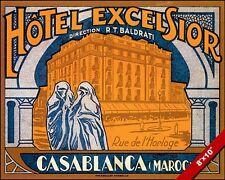 VINTAGE CASABLANCA HOTEL MOROCCO VACATION TRAVEL AD POSTER ART REAL CANVAS PRINT