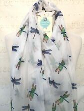 EMERALD DRAGONFLIES WHITE & BLUE SCARF WRAP GIFT PRESENT WRAP DRAGON FLY INSECT
