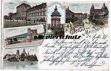 alte Litho Ak 1898 Gruss aus Mannheim, Schillerplatz, Wasserturm, Park, Schloss