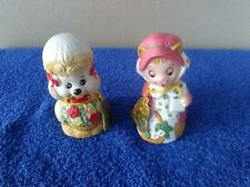 """(2) Jasco Critter Bells Poodle with Basket and Cat with Basket 4.25"""" Tall"""