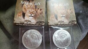Two 2016 Republic of Congo African Lion 1 Oz 999 Silver Coins Certificates