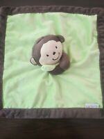 "Carters Brown Green Plush Monkey Security Blanket Baby Lovey Toy 13 "" lovie boy"