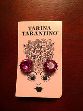 TARINA TARANTINO Earrings Big Swarovski Crystal Ruby Red Studs NWT Awesome