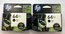 Lot of 2 Genuine HP 64XL Black Original Ink Printer Cartridge NEW ENVY NOV 2021