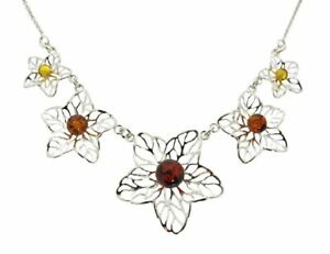 Silver and multicolour amber beads flower necklace