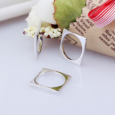 Women's Real 925 Silver Jewelry Square Round Ring Geometric Jewelry Fashion Ring