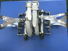 "VINTAGE LYOTARD 460 ALLOY TOURING PEDALS,9/16"",TOE CLIPS & NEW LEATHER STRAPS"
