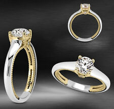Solitaire 0.87 Carat D/SI1 Round Cut Diamond Engagement Ring 14k White Gold