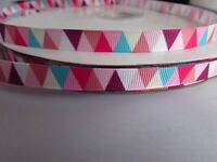 9mm Grosgrain Ribbon with Pink etc Triangle Pattern in 2m, 5m, 10m & 20m lengths