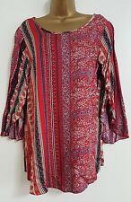 NEW Plus Size 16-32 Bell Sleeve Mosaic Print Stripe Red Tunic Top Blouse