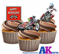 PRECUT Happy Birthday Speedway Mix 12 Edible Cupcake Toppers Cake Decorations