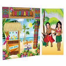 6ft Hawaiian Luau Beach Party Tiki Scene Setter Wall Decor Selfie Face in Hole