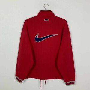 Vintage Nike Center Swoosh Big Logo Full Zip Sweatshirt Red Size Medium