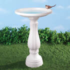 Pedestal Birdbath White Plastic Bird Bath Feeder Outdoor Garden Birds NEW