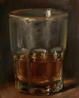 """Glass of Whiskey No.2"" NOAH VERRIER Still life oil painting, Signed art print"