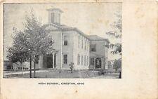 E34/ Creston Ohio Postcard 1908 High School Building