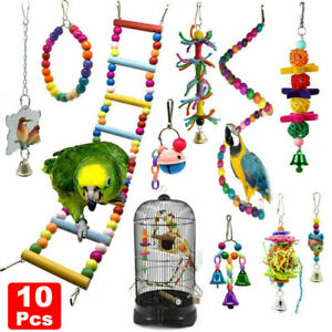 10X Bird Swing Chewing Toys Parrot Bell Hammock Parrot Cage Budgie Cockatiel