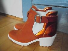 SWEAR London 9 ladies 40 boots shoes Suede Leather Rust orange White NEW $280