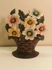 Used Cast Iron Flower Basket Doorstop 1981