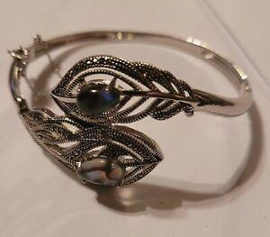 Bracelet , Abalone & Marcasite Silver Plated Peacock Feather Bangle Bracelet