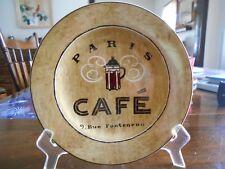 "Coffee Break Salad Plate 8.25"" Paris Cafe Genuine Stoneware Sakura White Brown !"