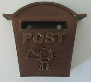 "1:6th scale vintage, wall letter box, with ""Post"" and bugle pattern. BLACK."