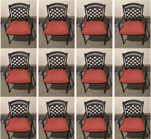 Outdoor dining chair set of 12 aluminum patio furniture restaurant seating