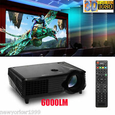 6000 Lumens Full HD 1080P LED LCD 3D VGA HDMI TV Home Theater Projector Cinema
