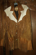 Veste à Franges Western Country Moto Cheval Cuir Peau Marron MEXICANA