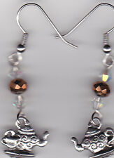 Silver Tea Pot Earrings-Tibetan Silver w/Clear & Faceted Purple Swarovski Beads