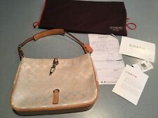 COACH SIGNATURE COLLECTION IVORY SIG CLIP HOBO BAG WITH ORIG INVOICE  PAPERS ETC
