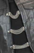 "Vest Extenders Three Row Chain Motorcycle Biker Leather Jacket 6"" Long-4 Pcs Set"
