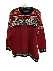 Vintage Icewear Fairisle Ski Sweater Size M Lithuania Europe 100% Pure New Wool