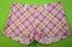 Charlotte Russe sz 1 Juniors Womens Pink Plaid Casual Shorts Stretch MH54