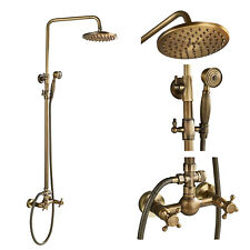 Bathroom 2 Knobs Mixer Rainfall Shower Faucet with Hand Spray Antique Brass