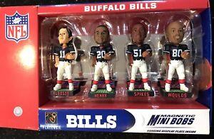 Buffalo Bill Rare NFL 4 player mini bobblehead set Retro  Magnetic Cool Item