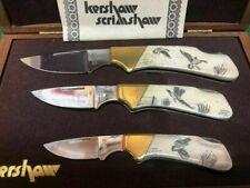3 Kershaw Scrimshaw Folding Pocket Knife with Case Limited 28/100 G. Harbour