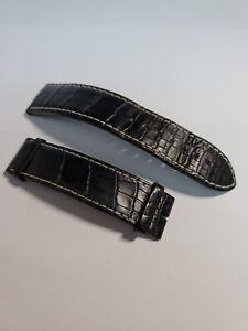Genuine Longines Admiral Black Alligator Leather Watch Strap 21mm Lug