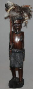 VINTAGE HAND CARVING WOOD AFRICAN WARRIOR STATUETTE