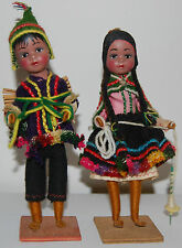 Lot of 2 Vintage Native Peruvian Folk Art Ethnic Dolls Traditional Costume Peru