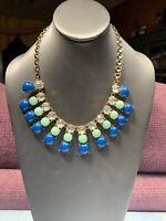 Women's Ladies Necklace  Gold Tone Rhinestone Blue Green  Bohemian Pendant Bib
