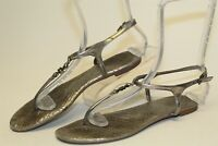Tory Burch Womens 7.5 M Metallic Silver Leather Thongs Sandals Flats Shoes